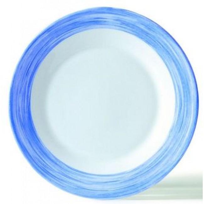 Assiette creuse ronde blanche/bleue 23cm
