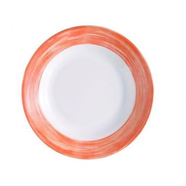 Assiette plate ronde blanche/orange 16cm