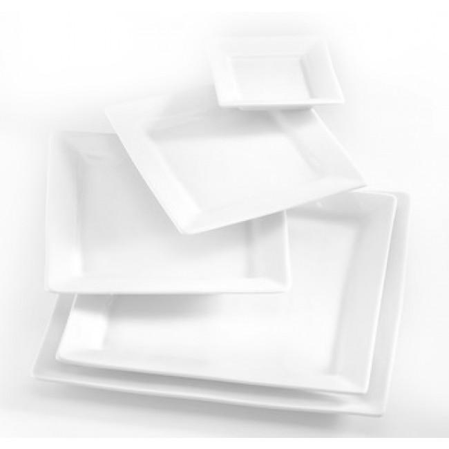Assiette plate carrée blanche 21x21cm en porcelaine Quartet - Pillivuyt