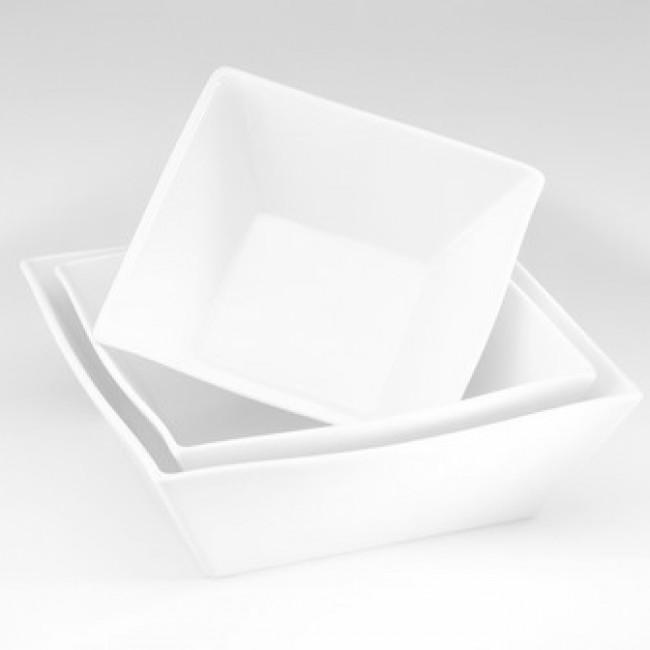 Saladier carré blanc 25x25cm 250cl en porcelaine - Quartet - Pillivuyt
