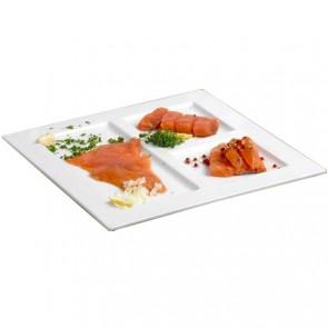 Assiette 3 compartiments plate carrée 29x29cm blanche en porcelaine - Faro - Cosy & Trendy