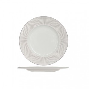 Assiette plate ronde blanche patine 28cm - Epis - Cosy & Trendy