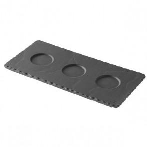 Soucoupe ardoise 3 encoches 25 x 12cm - A l'unité - Basalt - Revol