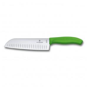 couteau santoku swissclassic lame alveolee au poignet synthetique couleur vert clair a usage multiple 17cm - swissclassic - victorinox
