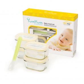 Set de 4 boites hermétiques pour bébés avec couvercles hermétiques - Micro-ondes - Glasslock