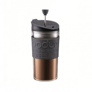 Mug à piston en plastique double paroi 35cl noir - Travel Press - Bodum