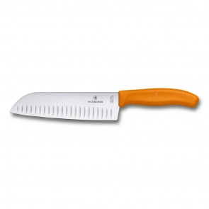 couteau santoku swissclassic lame alveolee au poignet synthetique couleur orange a usage multiple 17cm - swissclassic - victorinox