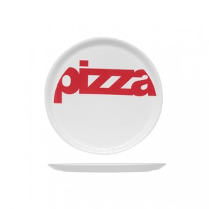Assiette à pizza blanche ronde 29cm inscription rouge - Lot de 6 - Cosy & Trendy